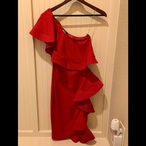 NWT Red One Shoulder Maxi Dress